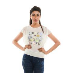 Ziva Fashion Women's White Graphic Print Top  - T76