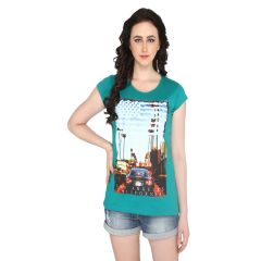 P-Nut Womens Green Cotton Printed T-shirt(Code-BASIC_18_E)