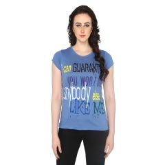 P-Nut Womens Blue Cotton Round Neck T-shirt(Code-BASIC_19_B)