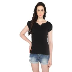 P-Nut Women's V Neck Solid Casual T-shirt OM1021D