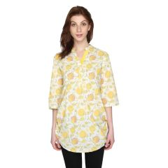 P-Nut Womens  Yellow Printed Cotton Top with 3/4th Sleeves(Code-OM358-A)