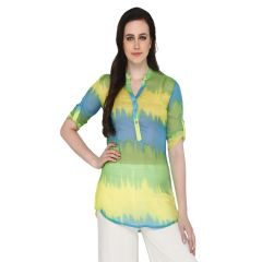 P-Nut Women's Polyester Tie & Dye Casual Top OM369A