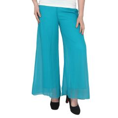 P-Nut Women's Rama Green Solid Polyester Palazzo TR91G