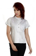 Ladybond White  Cotton Short Sleeve Shirt for Women IDS-2246