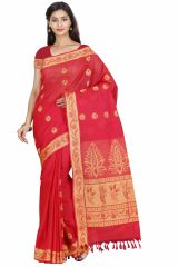 Marjoram Colors Red Color Pure Cotton Saree (MADS5017)