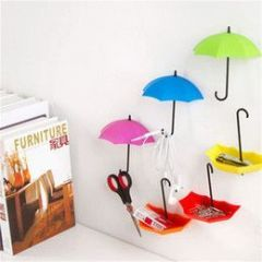 Colorful Umbrella Wall Hooks 3pcs/lot Self Adhesive Walls Door Hangers Key Hairpin Organizer Decorative Bathroom Kitchen