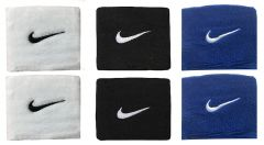 Sports Wrist Band Supporter Sweat Band (Black, White and Blue) - 1 Pair Each