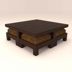 Caspian Stylish Centre Table With 4 Stool And  Light Brown Cushions