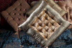 Jodhaa Cushion in Velvet with Flower border - Gold