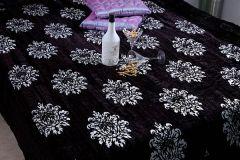 Jodhaa Doubles Velvet Quilt / Razai in Black / silver 12RZDA001