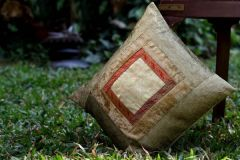 Jodhaa Cushion Cover in Beige and Gold Velvet and Tissue