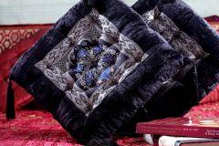 Jodhaa Velvet Cushion in Black with Brocade Patch