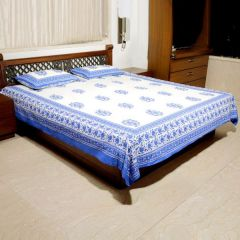 Jodhaa Cotton Off White-Blue Double Bedsheet Set