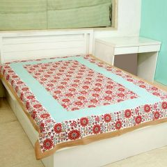 Jodhaa Cotton Maroon-Green Single Bedsheet