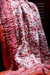 Jodhaa Doubles Cotton Quilt / Razai in Gold,Red and Orange print