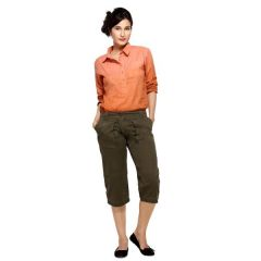 London Bee Olive Solid Womens 3-4 th Shorts - Code(WSLB0012)