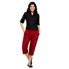 London Bee Maroon Solid Womens 3-4 th Shorts - Code(WSLB0007)