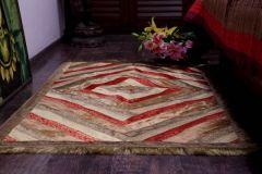 Jodhaa Carpet / Floor mat in Velvet and Brocade  Beige / Gold 21FMTA007