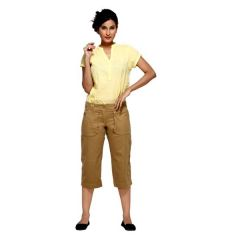 London Bee Beige Solid Womens 3-4 th Shorts - Code(WSLB0011)