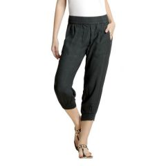 Loco En Cabeza Solid Charcoal Rayon Viscose Elastic Waist 3/4 Pant-(Product Code-CZWP0012)