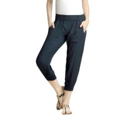 Loco En Cabeza Solid Navy Rayon Viscose Elastic Waist 3/4 Pant-(Product Code-CZWP0013)