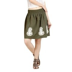 Loco En Cabeza Olive Solid Cotton Lace And Embroidery Skirt-(Product Code-CZWS0004)