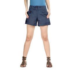 Loco En Cabeza Navy Cotton Linen Womens Short-(Product Code-CZWSH0001)
