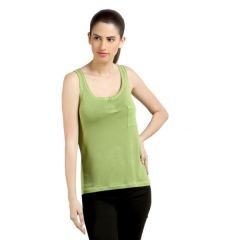 Loco En Cabeza Olive Sleeveless Strech Viscose Tank Top-(Product Code-CZWT0046)