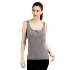 Loco En Cabeza Grey Sleeveless Strech Viscose Tank Top-(Product Code-CZWT0047)