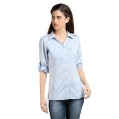 Loco En Cabeza Solid Lt Blue Cotton Womens Long Sleeve Shirt -(Product Code-CZWT0060)