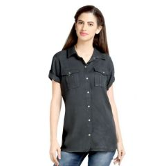 Loco En Cabeza Charcoal Short Sleeve Rayon Shirt Top-(Product Code-CZWT0065)