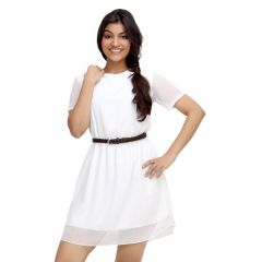 Loco En Cabeza White Short Sleeve Short Dress for Women - (Product Code - CZWD0020)