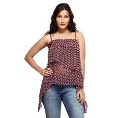 Loco En Cabeza Brown Printed Georgette Layered Irregular Strap Top for Women - (Product Code - CZWT0001)