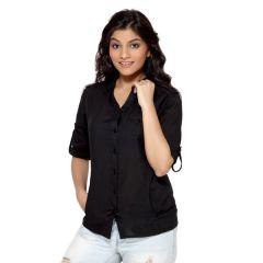 Loco En Cabeza Solid Black Cotton Womens Long Sleeve Shirt for Women - (Product Code - CZWT0005)