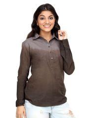 Loco En Cabeza Grey Tonal Cotton Womens Long Sleeve Shirt for Women - (Product Code - CZWT0007)