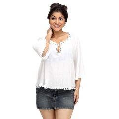 Loco En Cabeza Riveted White Long Sleeve Peasent Top for Women - (Product Code - CZWT0022)