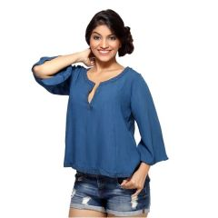Loco En Cabeza Riveted Navy Long Sleeve Peasent Top for Women - (Product Code - CZWT0023)