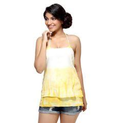 Loco En Cabeza Yellow Tie Die Cross Back Singlet Top for Women - (Product Code - CZWT0026)