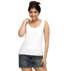 Loco En Cabeza White Sleeveless Strech Viscose Tank Top for Women - (Product Code - CZWT0043)