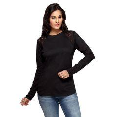 Loco En Cabeza Black Cotton Lace T Shirt for Women - (Product Code - CZWT0048)