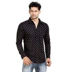 London Bee Mens Cotton Japan Print Long Sleeve Slim Fit Black Shirt - (Product Code - MLSLB0013)
