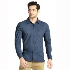 London Bee Mens Cotton Circle Print Long Sleeve Slim Shirt - ( Product Code - MLSLB0079 )