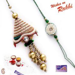 Rakhi Gifts - Beautiful Pearl and Stone Bhaiya Bhabhi Rakhi Set