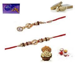Beautiful Pearl and Stone Gold plated Bhaiya Bhabhi Rakhi Set