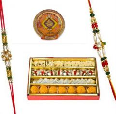 Rakhi Gifts - Haldiram's Assorted Sweets With Beautiful Rakhi