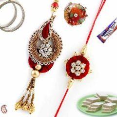 Rakhi Online - Authentic Zardosi Bhaiya Bhabhi Rakhi Set