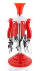Cutlery Set Of Stainless Steel 24 Pcs Tablecraft Cutlery Set With stand (Red)
