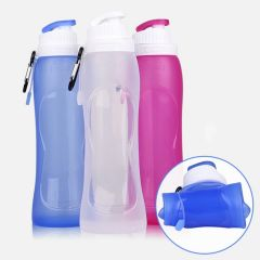 Water Bag 500ml Travel Sport Flexible Eco-Friendly Silicone Foldable Drinkware Water Bottle (RED)