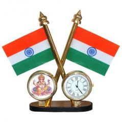 Double Sided Tricolor National Flag with Clock and Jai Ganesh for Car Dashboard,Official Use