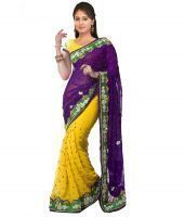 Styloce Purple -yellow Chiffion Designer Saree With Blouse